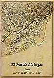 Póster de mapa de España El Prat de Llobregat con impresión en lienzo de estilo vintage, sin marco, para decoración de regalo, 45,7 x 60,9 cm