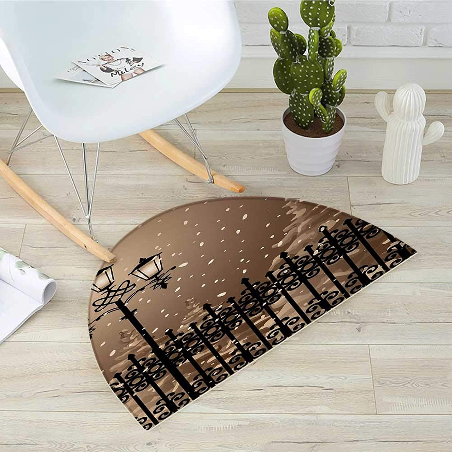 Lantern Half Round Door mats Frozen Scenery Iron Fences City Evening Snow and Lanterns Full Moon Graphic Bathroom Mat H 35.4  xD 53.1  Light Brown Black