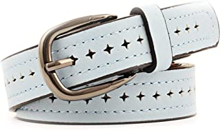 SGJFZD New Creative Punching Belt Fashionable Wild Alloy Pin Buckle Belt Ladies Belt (Color : Sky Blue, Size : 103 * 2.5CM)