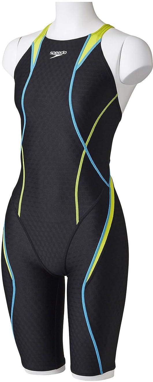 魔女もつれ理想的Speedo(スピード) レディース 競泳水着 スパッツスーツ FLEX Cube セミオープンバックニースキン SD46H04 ワイルドライム×アクアブルー(LB) L