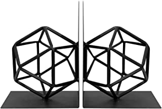 Metal Black Book End, Modern Bookends Decorative Geometric Design Bookshelf Decor for Home Office School Desktop Gift
