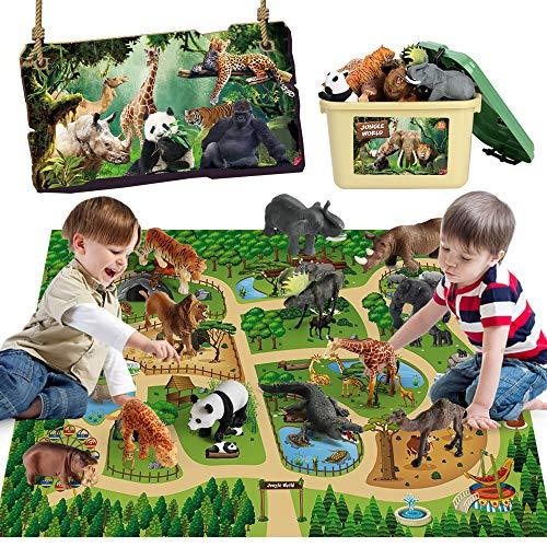 Mini Tudou 12 Stücke Safari-Tiere Spielzeugfigur mit 57x38,6 Aktivität Spielmatte,Realistisch Dschungel Wild Zootierfiguren Spielset mit Elefant, Giraffe, Löwe für Kinder Kleinkinder Jungen & Mädchen