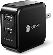 USB Wall Charger for iPhone iPad, iClever Dual Port 24W Travel Tablet Phone Charger Adapter with SmartID for for iPhone11/ Pro/iPhoneX/iPhone XR/8/7/6/Plus, iPad Pro/Air 2/Mini 3/Mini 4, and More