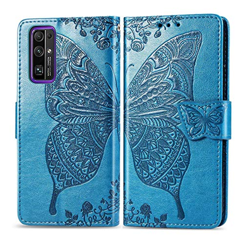 Bravoday Handyhülle für Huawei Honor 30 Hülle, Stoßfest PU Leder Tasche Flip Hülle Schutzhülle für Huawei Honor 30, mit Kartenfäch und Kickstand, Blau