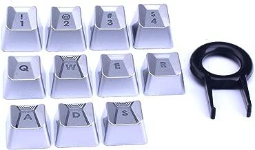 HUYUN Performance Gaming keycaps for Romer-G Switch Logitech G310 G413 G613 G810 K840 G910 Mechanical Keyboard (Sliver 11 Keys)