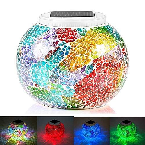 KEEDA Farbe Wechselndene Mosaik Solar Lampe, LED Nachtlicht, Solarleuchten/Gartenleuchten/Garten Tischlampen, Dekoration Beleuchtung (Tricolor Beschichtung)