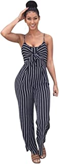 Hatoppy Womens Clubwear Strappy Striped Playsuit Bandage Bodysuit Party Jumpsuit (M, Navy)