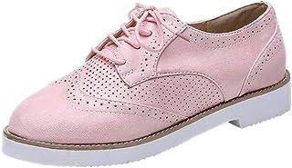 OHQ Zapatillas De Running para Mujer Punta Redonda Color SóLido Tobillo Ante Plano Casual con Cordones Zapatos Deportivos