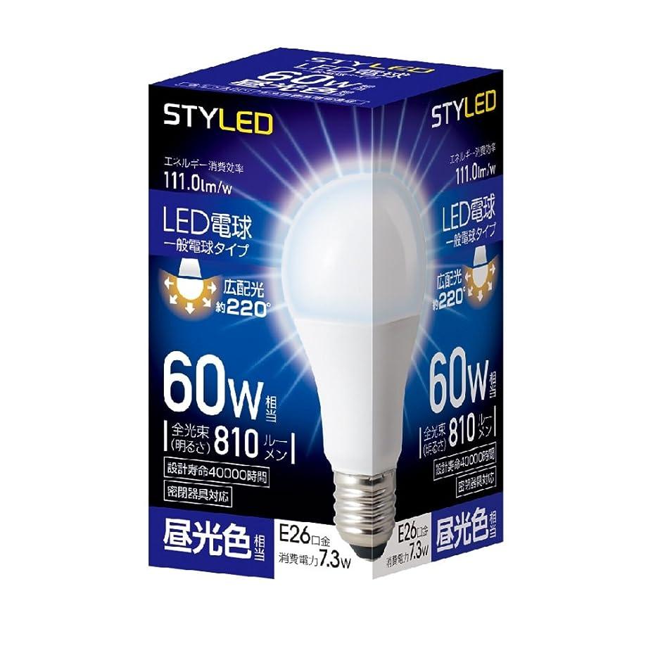 中性変化オフスタイルド LED電球 口金直径26mm 電球60W形相当 昼光色 7.3W 一般電球?広配光タイプ 密閉器具対応 HA6T26D1