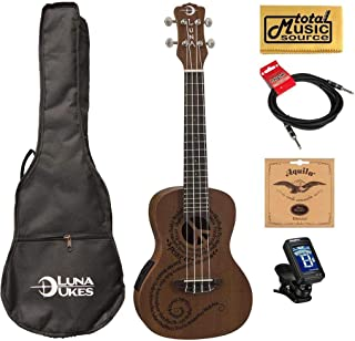 Luna Mahogany Series Maluhia Peace Acoustic-Electric Concert Ukulele W/Gigbag,Tuner,Strings,Cable & PC