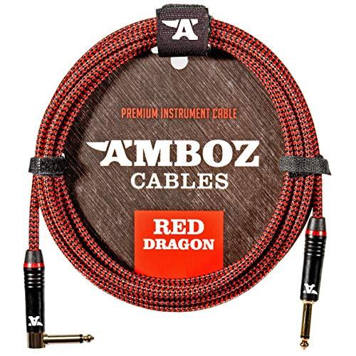 Red Dragon - Cavo jack to jack per chitarra elettrica, basso e Strumenti Musicali - molto silenzioso, 4,5m, rosso - da Jack 6,3 mm anglato ad dritto