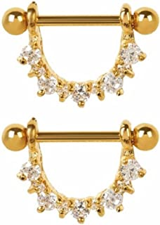 24k Gold Plated with Clear Cz Half Circle Nipple Shields (1 Pair) PLATED Over 316l Surgical Steel Nickle Free 14g