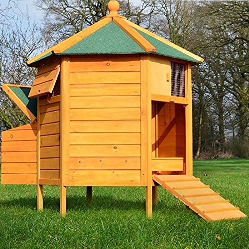 Poulailler Enclos en Bois pour Jardin extérieure diamètre : 125 cm ❤ Cage Canard 2 perchoir Nichoir Modèle : Pavillon 6-Coin 128