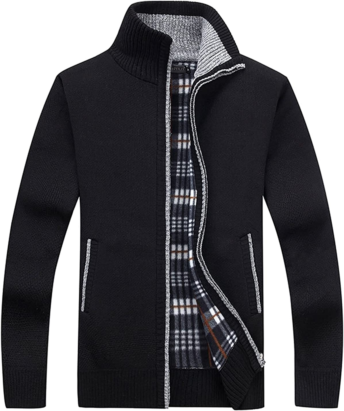 CJCGLOBAL Men's Casual Slim Full Zip Thick Knitted Cardigan Sweaters with Pockets (Black,Medium)