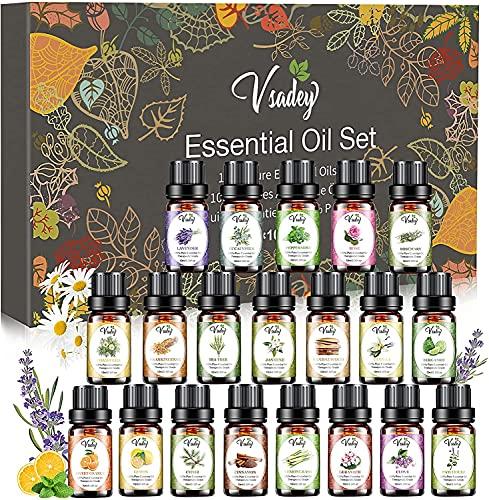 Ätherische Öle GeschenkSet, 20x10ml 100% Naturrein Essential Oils Aromatherapie Duftöl Set für Diffuser, Sauna, Kerzen, Parfum, Seifen, Kosmetik