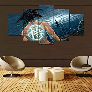 QJXX Prints On Canvas HD Prints Home Wall Art Decor Pictures 5 Pieces Cartoon Dragon Ball Z Paintings Living Room Super Saiyan Poster,B,203520452055
