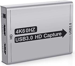 キャプチャーボード USB3.0 【2020最新版4k HDMI Loop-out】ビデオキャプチャー ゲームキャプチャー ボイススルー機能 ヘッドホン イヤホン接続可能 60FPS Switch/PS4/zoom/ゲーム/ビデオなど対応 Ma...