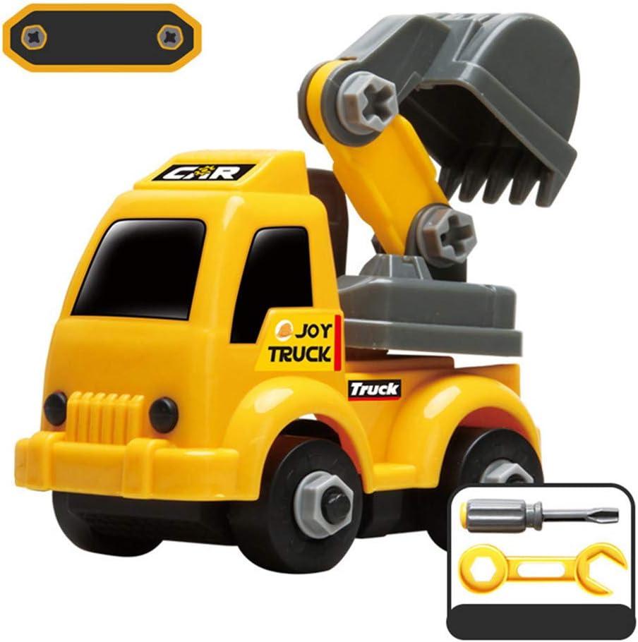 Bascar Coche de juguete para vehículos de construcción de plástico para niños, color amarillo, miniexcavadora montada, para coche, juguete de juguete, camión, camión