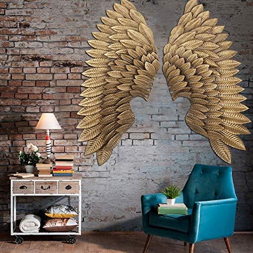 INTASTE Escultura de la Pared, Mano Dorada Hand Craft Bas Relief Sculptures, Murales realistas de Estilo Vintage para la decoración de la Pared, alas Festivas del ángel del Partido