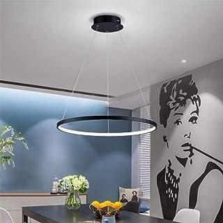 Lámpara de colgante LED, regulable de luz/brillo redonda, lámpara de mesa de comedor cocina salón, con mando a distancia, Lámpara de techo-negro_Círculo 40cm