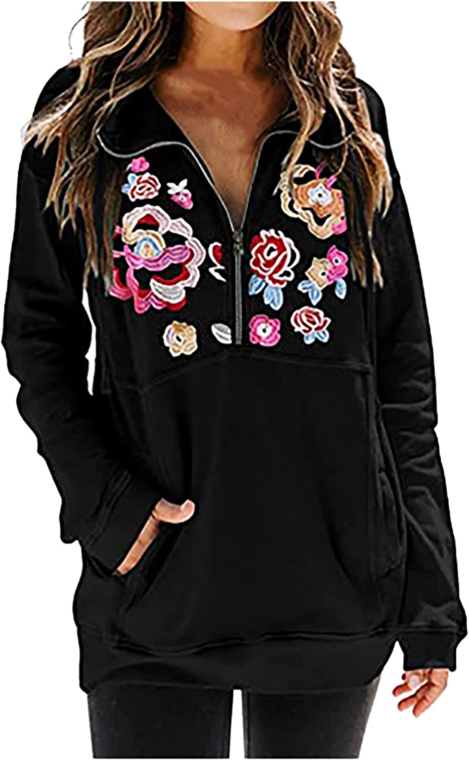 Pullovers for Women Casual Half Zipper Lapel Sweatshirts Embroidered Floral Long Sleeve Stand Collar Tunic Tops with Pocket