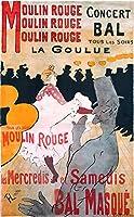 絵画風 壁紙ポスター (はがせるシール式) ロートレック ムーラン・ルージュ La Goulue ポスター 1891年 キャラクロ K-LRB-002S2 (373mm×603mm) 建築用壁紙+耐候性塗料