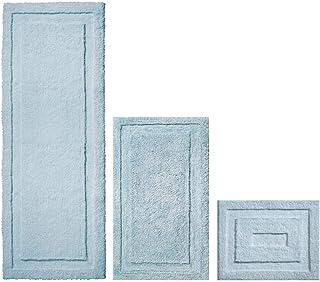 mDesign Soft Microfiber Non-Slip Bathroom Mat/Rug for Bathroom, Vanity, Bathtub/Shower, Dorm Room - Set of 3, Water Blue