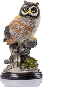 HOMERRY Eagle Owl Figurine Statue On Rock Decorative Home and Garden Statue Resin Animal Sculpture -8.7in Collectible Animal Figurine