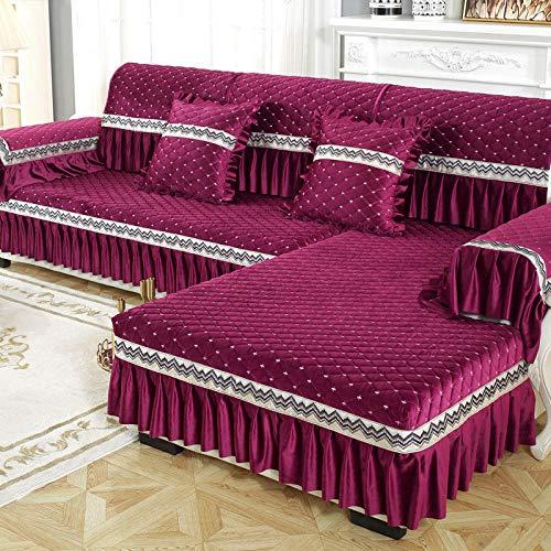 B/H elástico Tejido Protector por sofá Funda,Cojín de sofá Moderno Simple, Funda de sofá de Cubierta Completa Antideslizante-Vino Rojo_90 * 210cm,Asiento Antideslizante sofá Funda Tejido