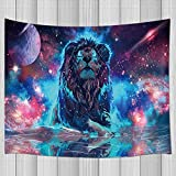 KOTOM Fantasy Tapestry, Universe Galaxy Lion Tapestry for Boys Bedroom, Blacklight Fabric Tapestry Wall Hanging for Bedroom Living Room Dorm Teens Room 71X60Inches Wall Blankets