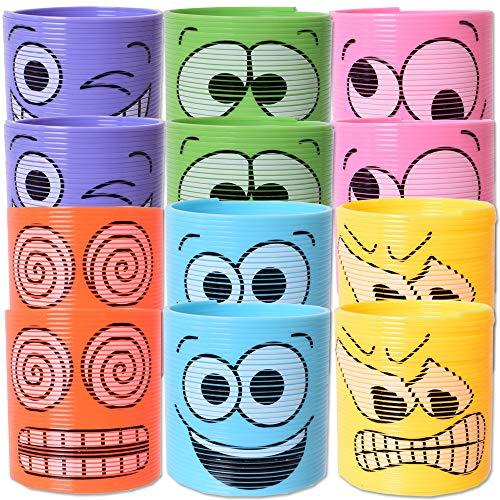 TE-Trend 12 Stück Emoji Lachgesichter Treppenläufer Spirale Smiley Spielzeug Springspirale Kinder Geburtstag Mitgebsel Mehrfarbig
