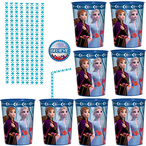 Frozen 2 Birthday Party Favor Cups and Paper Straws Pack For 12 Guests With 12 Plastic Frozen 2 Cups, 24 Paper Straws, and Frozen Inspired Pin