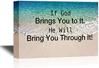 Canvas Printing Wall Art - Christian Quotes Series Canvas Wall Art - If God Brings You to It, He Will Bring You Through It - Gallery Wrap Modern Wall Decor, Stretched  Framed - 8