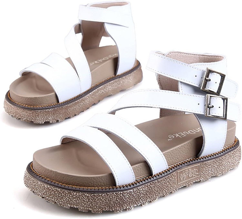 BININBOX Women's Leather Platform Sandals Summer Buckle Gladiator Sandals