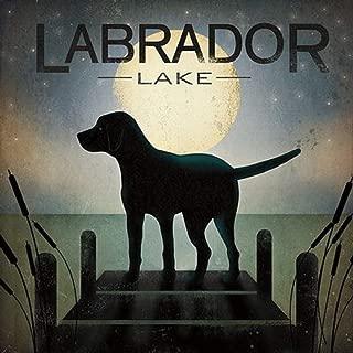 Wild Apple Moonrise Black Dog - Labrador Lake by Ryan Fowler Signs Dogs Lab Animals Print Poster 12x12