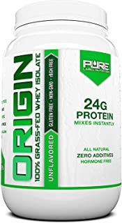 Pure Label Nutrition 100% Grass-Fed Whey Protein Isolate, 2lb Unflavored, No Fat, No Lactose, Micro-Filtered, Cold Process...