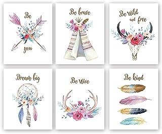 Lot de 6 Ensemble Affiches Premium,Murale Impressions D'art de Fleurs de Filles Chambre,Affiche de Citations Inspirantes,T...