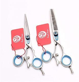 Professionele haar knippen 5.5/6.0 inch Barber Schaar Uitdunnen Shears High-End 440C Steel Blue Set kappers Stylist Salon ...