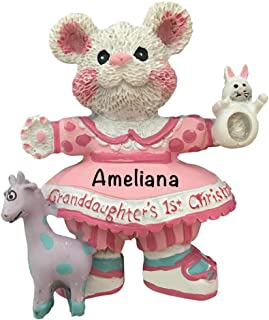 Granddaughter's 1st Christmas Personalized - (Unique Christmas Tree Ornament - Classic Decor for A Holiday Party - Custom Decorations for Family Kids Baby Military Sports Or Pets)