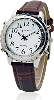Women Talking Watch English Voice Quartz Watch Talking Wristwatches Brown Leather Band for Blind Person Visually Impaired or The Elderly