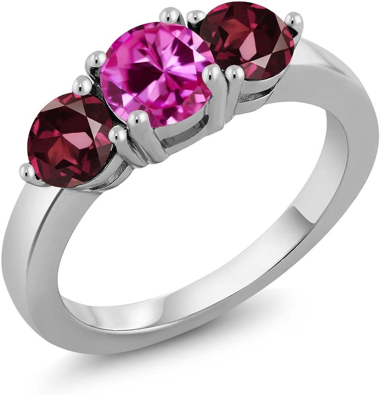 2.28 Ct Round Pink Created Sapphire Red Rhodolite Garnet 925 Silver Ring