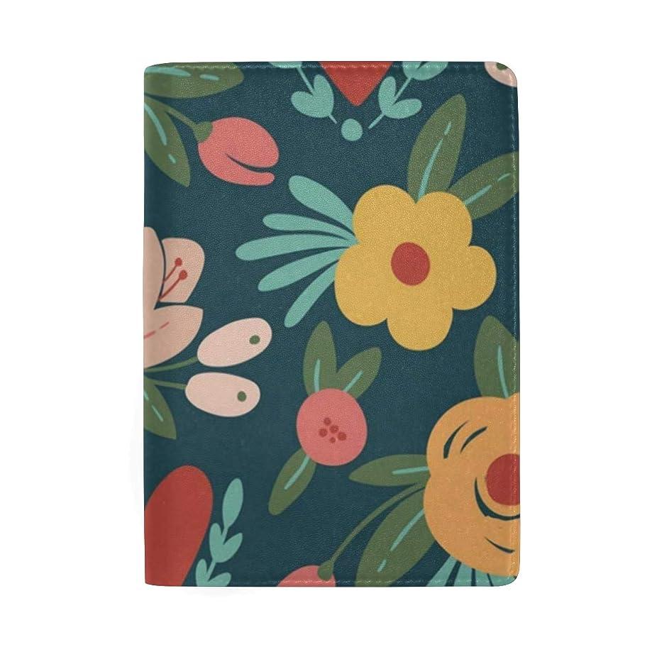 Passport Holder Cute Floral Pattern Passport Cover Case Wallet Card Storage Organizer for Men Women Kids
