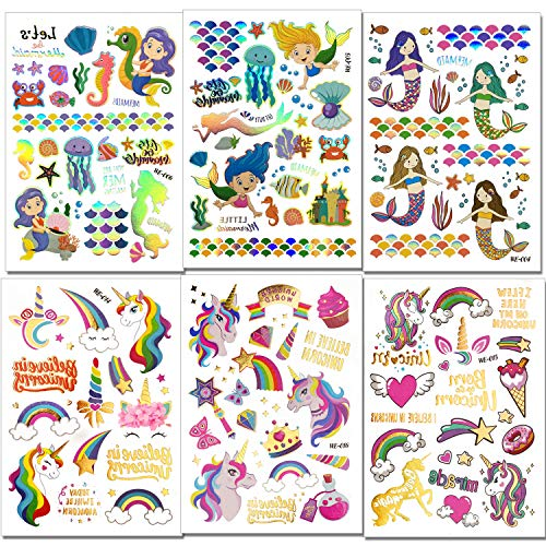 Konsait Sirena Unicornio Tatuajes temporales Kit, Impermeables Falso Tatuajes Etiquetas adhesivas Unicornio Tatuajes Temporales para niños niñas, Fiestas Infantiles Cumpleaños de Niños Regalos