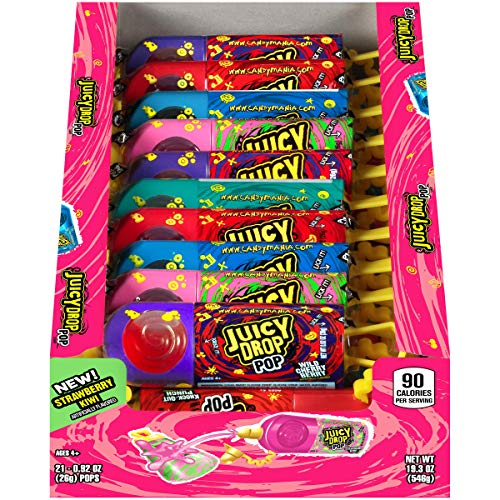 Juicy Drop Pop Sweet Lollipops Candy with Sour Liquid, Assorted Flavors Variety Box (Pack of 18)