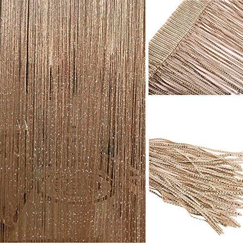 LCHULLE Türvorhang 100x200 Fadenvorhang Glitzer Streifenvorhang Wandvorhang Fensterdekoration Insektenschutz Pailettenvorhang für Fenster, Tür, Dekoration