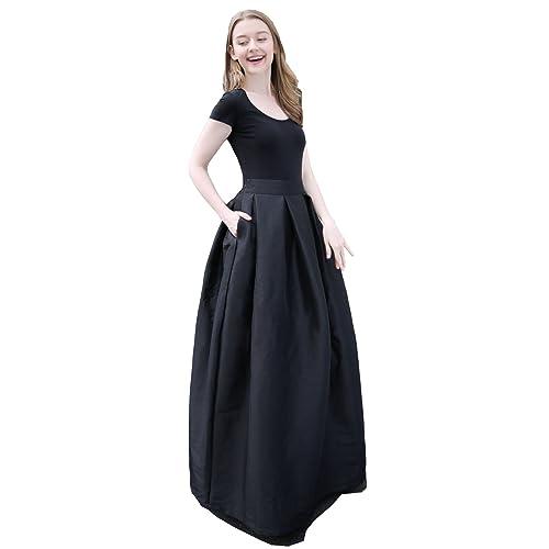 9ad1fe3a61c Irenwedding Women s High Waist Basic Hand Pockets Stretchy Pleated Skirt  Midi Skirt