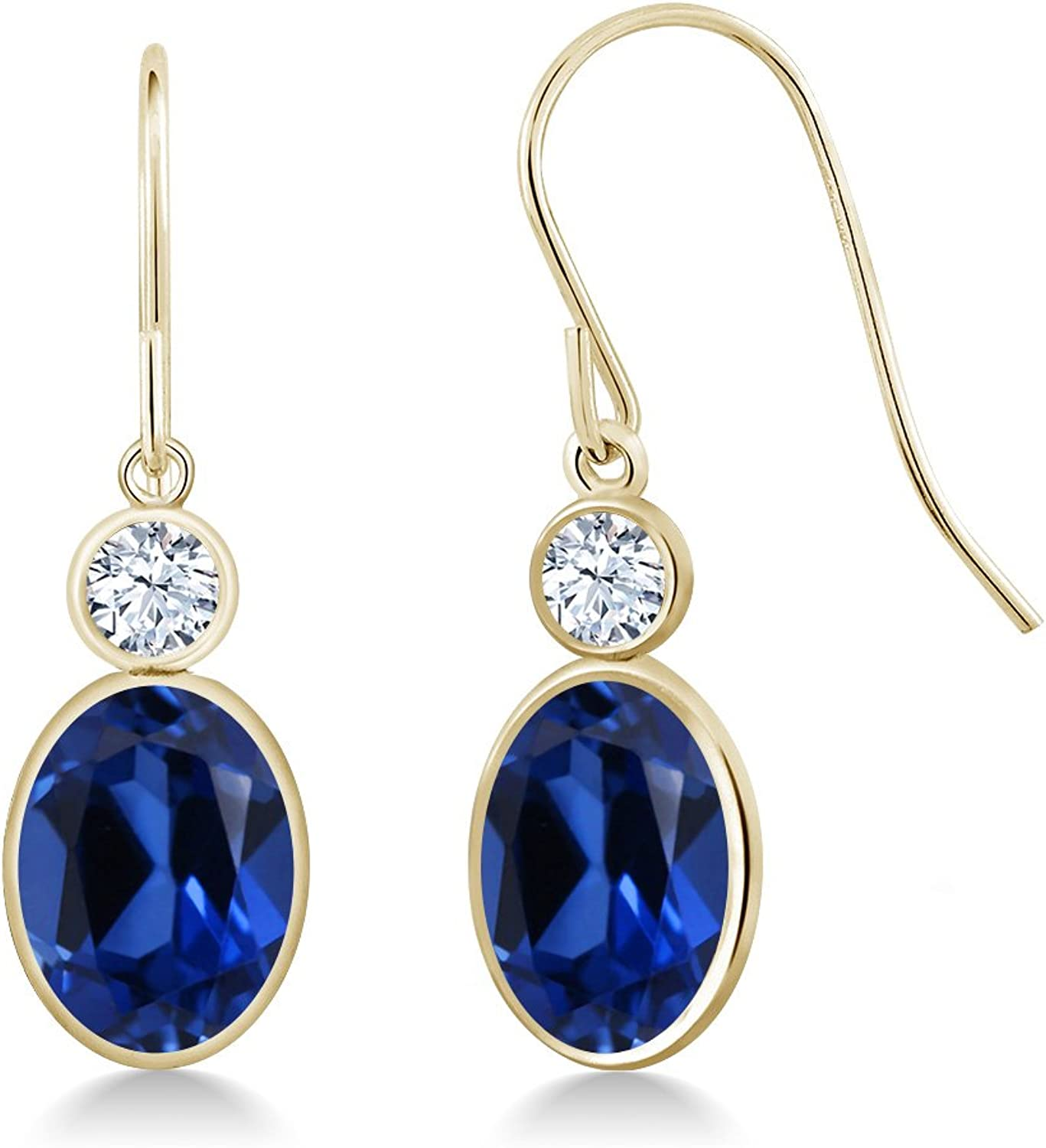 3.50 Ct Oval bluee Simulated Sapphire 14K Yellow gold Earrings