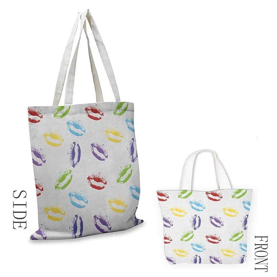 Ladies casual canvas bag Colorful Make Up Cosmetics Theme Lipstick Colored Lips Kisses Sexy Seductive Feminine Art Cosmetic bag 16.5