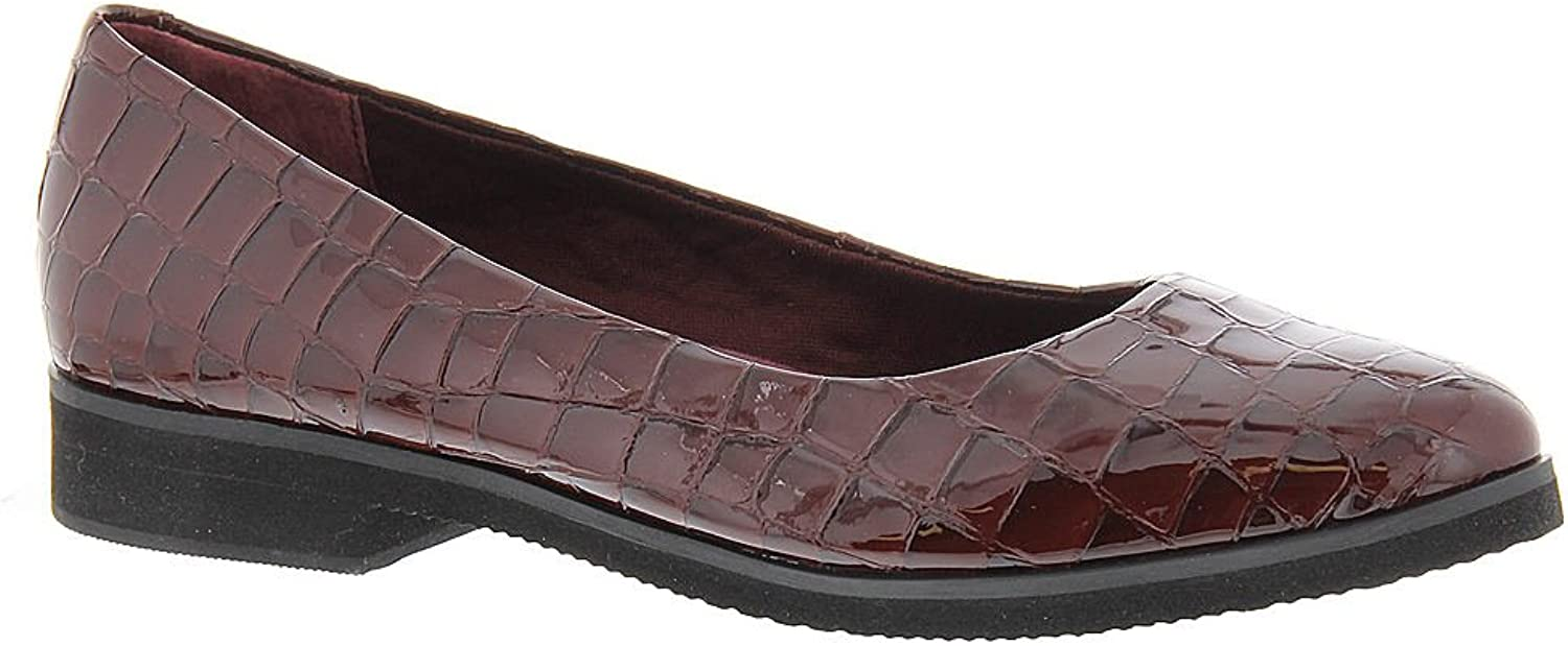 Walking Cradles Womens Bounce Leather Pointed Toe Ballet, Wine Patent, Size 10.5