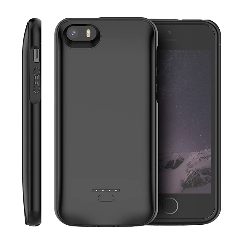 Compatible iPhone SE 5SE 5 5S Battery Case, LifeePro 4000mAh Rechargeable External Portable Battery Extra Pack Ultra Slim Extended Power Bank Backup Charging Case Full Protection Back Cover Black dchoipjp834990